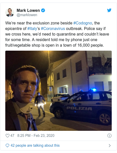 Twitter post by @marklowen: We're near the exclusion zone beside #Codogno, the epicentre of #Italy's #Coronavirus outbreak. Police say if we cross here, we'd need to quarantine and couldn't leave for some time. A resident told me by phone just one fruit/vegetable shop is open in a town of 16,000 people.
