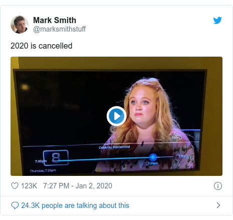 Twitter post by @marksmithstuff: 2020 is cancelled