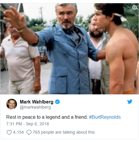 Twitter post by @markwahlberg: Rest in peace to a legend and a friend. #BurtReynolds