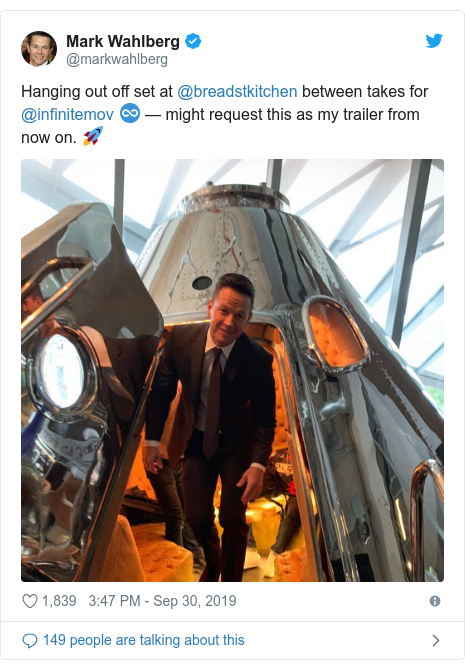 Twitter post by @markwahlberg: Hanging out off set at @breadstkitchen between takes for @infinitemov ♾ — might request this as my trailer from now on. 🚀