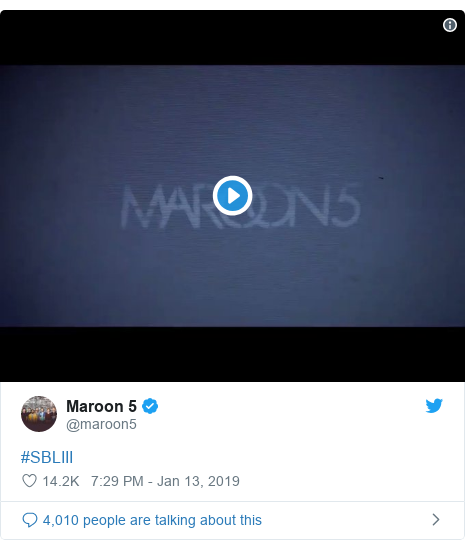 Twitter post by @maroon5: #SBLIII
