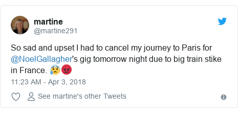 Twitter post by @martine291: So sad and upset I had to cancel my journey to Paris for @NoelGallagher's gig tomorrow night due to big train stike in France. 😰😡
