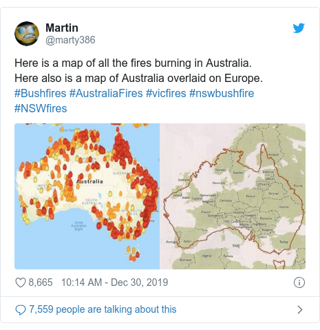 Twitter post by @marty386: Here is a map of all the fires burning in Australia.  Here also is a map of Australia overlaid on Europe. #Bushfires #AustraliaFires #vicfires #nswbushfire #NSWfires