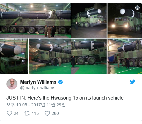 Twitter post by @martyn_williams: JUST IN  Here's the Hwasong 15 on its launch vehicle