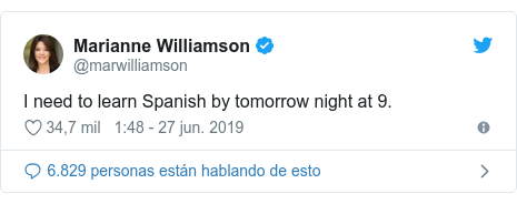 Publicación de Twitter por @marwilliamson: I need to learn Spanish by tomorrow night at 9.