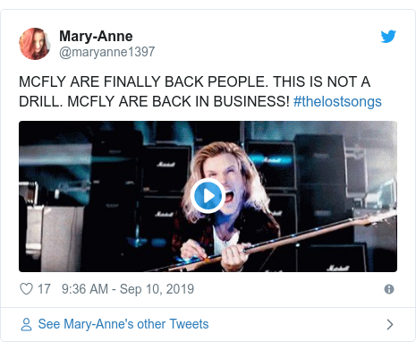 Twitter post by @maryanne1397: MCFLY ARE FINALLY BACK PEOPLE. THIS IS NOT A DRILL. MCFLY ARE BACK IN BUSINESS! #thelostsongs