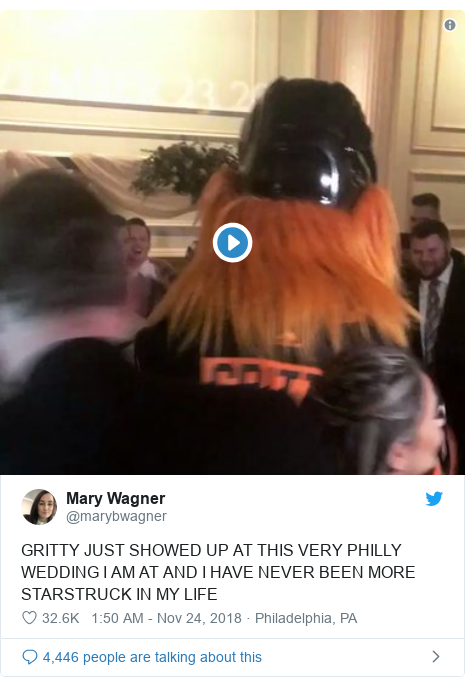 Twitter post by @marybwagner: GRITTY JUST SHOWED UP AT THIS VERY PHILLY WEDDING I AM AT AND I HAVE NEVER BEEN MORE STARSTRUCK IN MY LIFE