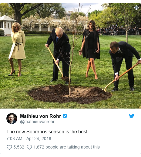 Twitter post by @mathieuvonrohr: The new Sopranos season is the best