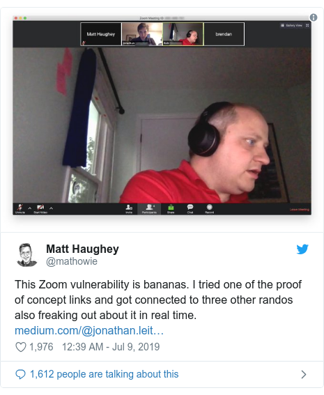 Twitter post by @mathowie: This Zoom vulnerability is bananas. I tried one of the proof of concept links and got connected to three other randos also freaking out about it in real time.