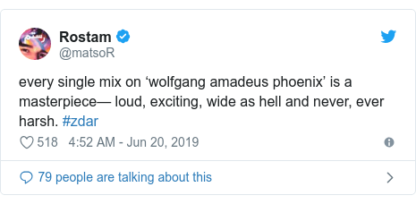 Twitter post by @matsoR: every single mix on 'wolfgang amadeus phoenix' is a masterpiece— loud, exciting, wide as hell and never, ever harsh. #zdar