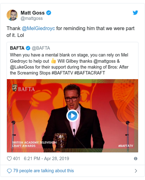Twitter post by @mattgoss: Thank @MelGiedroyc for reminding him that we were part of it. Lol