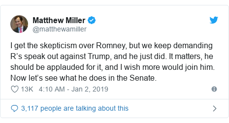 Twitter post by @matthewamiller: I get the skepticism over Romney, but we keep demanding R's speak out against Trump, and he just did. It matters, he should be applauded for it, and I wish more would join him. Now let's see what he does in the Senate.