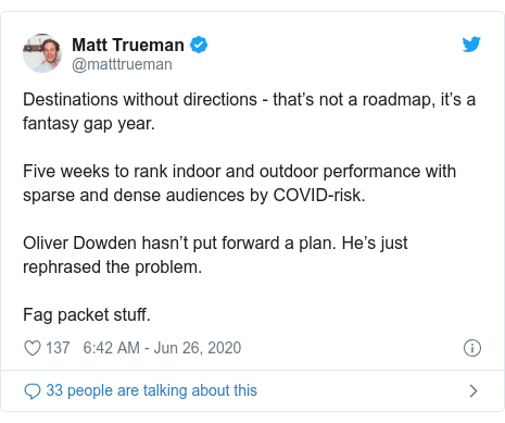 Twitter post by @matttrueman: Destinations without directions - that's not a roadmap, it's a fantasy gap year.Five weeks to rank indoor and outdoor performance with sparse and dense audiences by COVID-risk.Oliver Dowden hasn't put forward a plan. He's just rephrased the problem.Fag packet stuff.