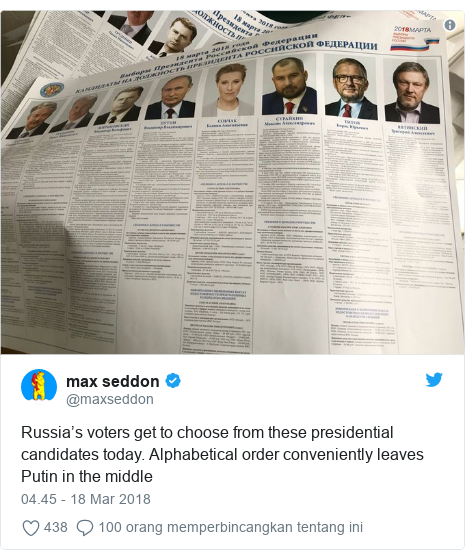 Twitter pesan oleh @maxseddon: Russia's voters get to choose from these presidential candidates today. Alphabetical order conveniently leaves Putin in the middle