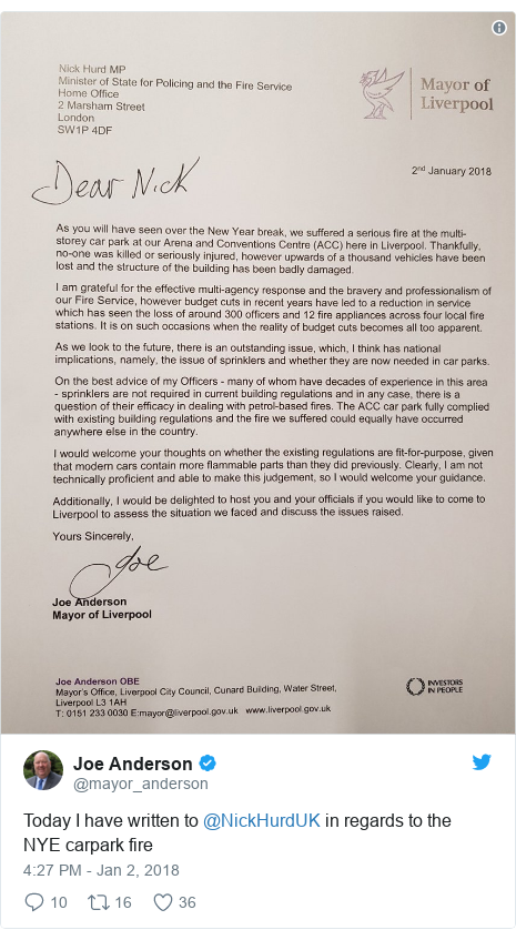 Twitter post by @mayor_anderson: Today I have written to @NickHurdUK in regards to the NYE carpark fire