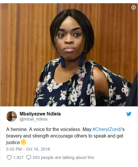 Twitter post by @mbali_ndlela: A heroine. A voice for the voiceless. May #CherylZondi's bravery and strength encourage others to speak and get justice✊