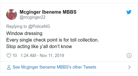 Twitter post by @mcginger22: Window dressing Every single check point is for toll collection.Stop acting like y'all don't know