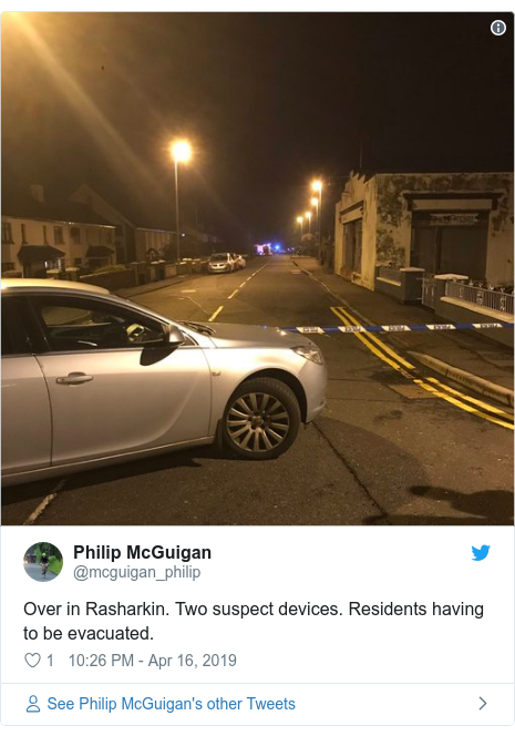 Twitter post by @mcguigan_philip: Over in Rasharkin. Two suspect devices. Residents having to be evacuated.