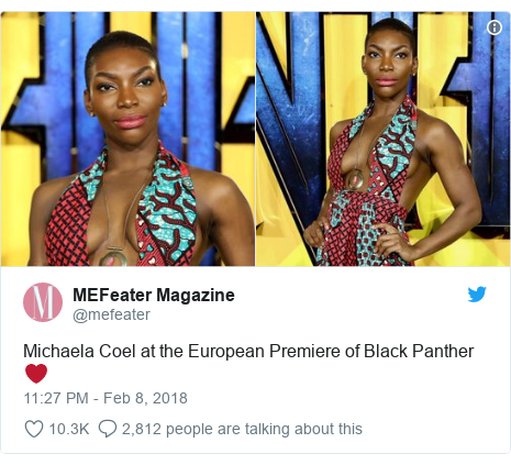 Twitter post by @mefeater: Michaela Coel at the European Premiere of Black Panther ❤️