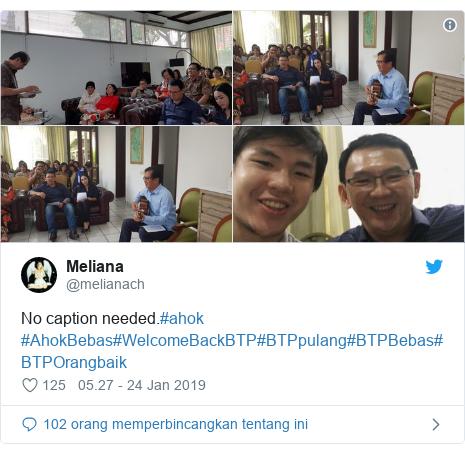 Twitter pesan oleh @melianach: No caption needed.#ahok #AhokBebas#WelcomeBackBTP#BTPpulang#BTPBebas#BTPOrangbaik
