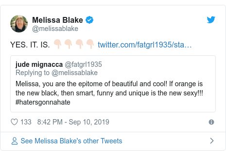 Twitter post by @melissablake: YES. IT. IS. 👇🏻👇🏻👇🏻👇🏻