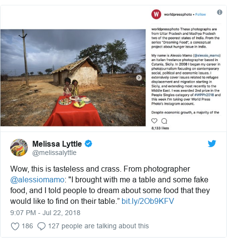 "Twitter post by @melissalyttle: Wow, this is tasteless and crass. From photographer @alessiomamo  ""I brought with me a table and some fake food, and I told people to dream about some food that they would like to find on their table."""