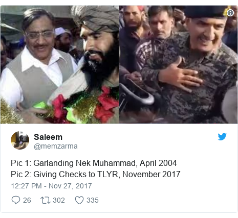 Twitter post by @memzarma: Pic 1  Garlanding Nek Muhammad, April 2004Pic 2  Giving Checks to TLYR, November 2017