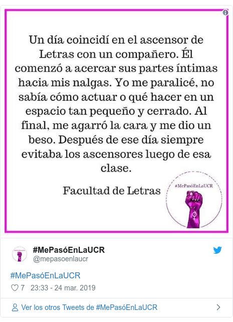 Publicación de Twitter por @mepasoenlaucr: #MePasóEnLaUCR