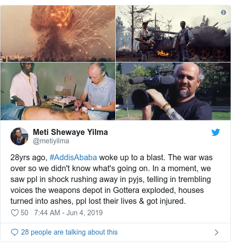 Twitter post by @metiyilma: 28yrs ago, #AddisAbaba woke up to a blast. The war was over so we didn't know what's going on. In a moment, we saw ppl in shock rushing away in pyjs, telling in trembling voices the weapons depot in Gottera exploded, houses turned into ashes, ppl lost their lives & got injured.