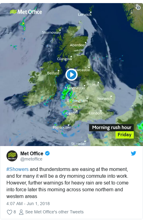 Twitter post by @metoffice: #Showers and thunderstorms are easing at the moment, and for many it will be a dry morning commute into work. However, further warnings for heavy rain are set to come into force later this morning across some northern and western areas