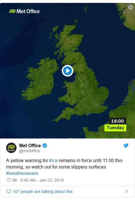 Twitter post by @metoffice: A yellow warning for #ice remains in force until 11 00 this morning, so watch out for some slippery surfaces #weatheraware