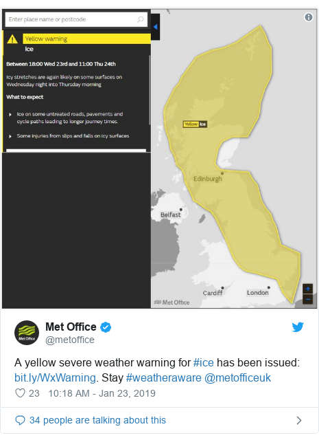 Twitter post by @metoffice: A yellow severe weather warning for #ice has been issued  . Stay #weatheraware @metofficeuk