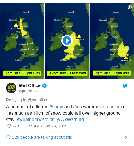 Twitter post by @metoffice: A number of different #snow and #ice warnings are in force - as much as 10cm of snow could fall over higher ground - stay  #weatheraware