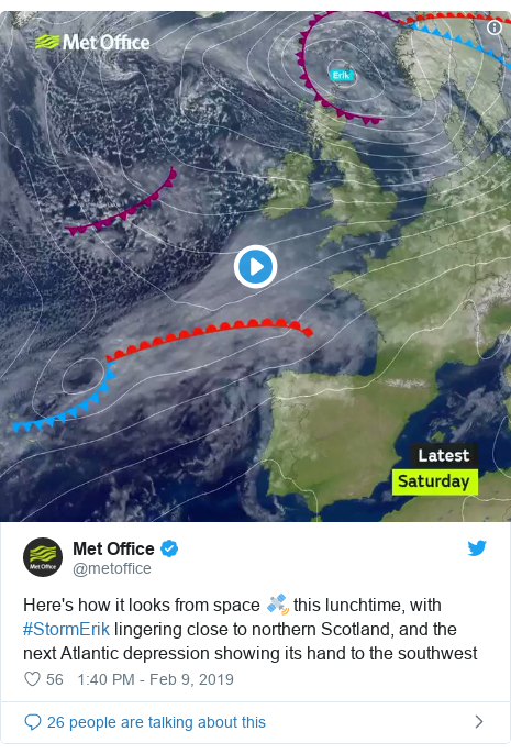 Twitter post by @metoffice: Here's how it looks from space 🛰️ this lunchtime, with #StormErik lingering close to northern Scotland, and the next Atlantic depression showing its hand to the southwest
