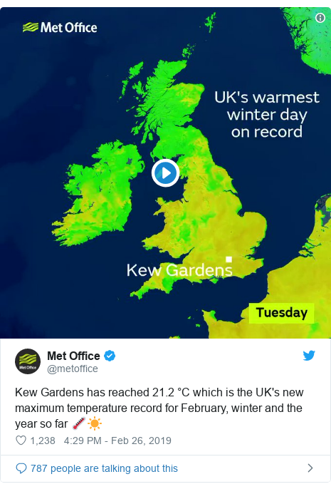 Twitter post by @metoffice: Kew Gardens has reached 21.2 °C which is the UK's new maximum temperature record for February, winter and the year so far 🌡️☀️