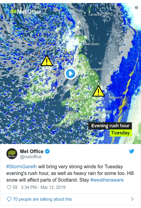 Twitter post by @metoffice: #StormGareth will bring very strong winds for Tuesday evening's rush hour, as well as heavy rain for some too. Hill snow will affect parts of Scotland. Stay #weatheraware