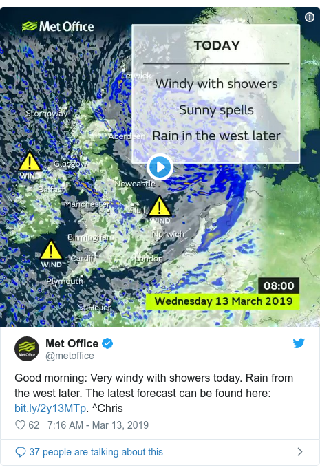 Twitter post by @metoffice: Good morning  Very windy with showers today. Rain from the west later. The latest forecast can be found here  . ^Chris