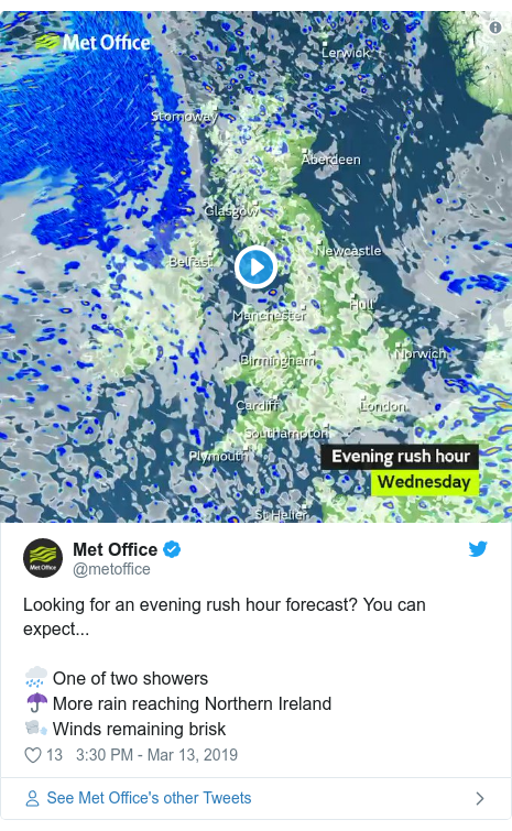 Twitter post by @metoffice: Looking for an evening rush hour forecast? You can expect...🌧️ One of two showers☂️ More rain reaching Northern Ireland🌬️ Winds remaining brisk