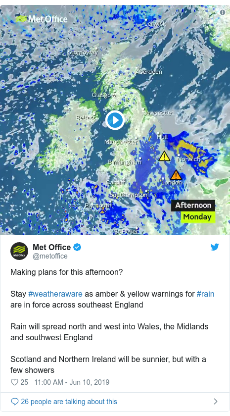 Twitter post by @metoffice: Making plans for this afternoon?Stay #weatheraware as amber & yellow warnings for #rain are in force across southeast EnglandRain will spread north and west into Wales, the Midlands and southwest EnglandScotland and Northern Ireland will be sunnier, but with a few showers