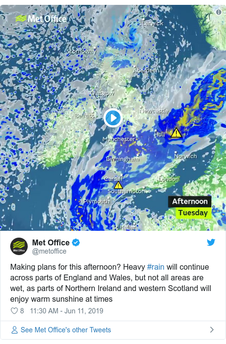 Twitter post by @metoffice: Making plans for this afternoon? Heavy #rain will continue across parts of England and Wales, but not all areas are wet, as parts of Northern Ireland and western Scotland will enjoy warm sunshine at times