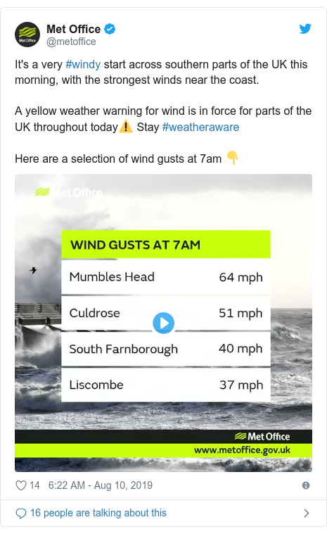 Twitter post by @metoffice: It's a very #windy start across southern parts of the UK this morning, with the strongest winds near the coast.A yellow weather warning for wind is in force for parts of the UK throughout today⚠️ Stay #weatheraware Here are a selection of wind gusts at 7am 👇