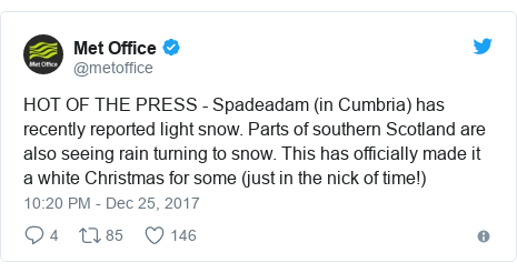 Twitter post by @metoffice: HOT OF THE PRESS - Spadeadam (in Cumbria) has recently reported light snow. Parts of southern Scotland are also seeing rain turning to snow. This has officially made it a white Christmas for some (just in the nick of time!)