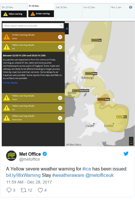 Twitter post by @metoffice: A Yellow severe weather warning for #ice has been issued   Stay #weatheraware @metofficeuk