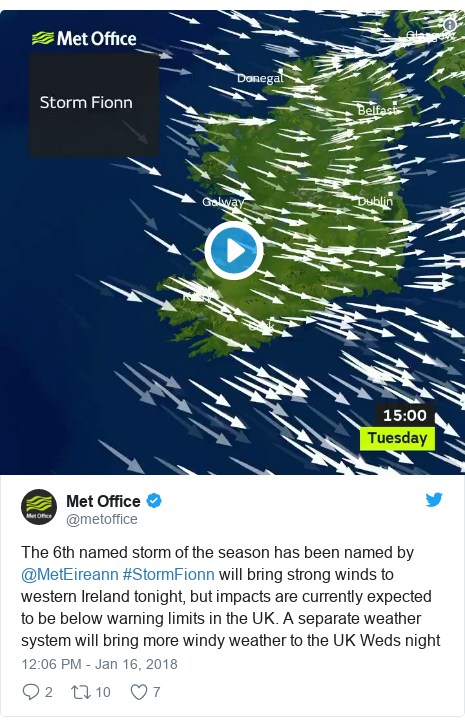 Twitter post by @metoffice: The 6th named storm of the season has been named by @MetEireann #StormFionn will bring strong winds to western Ireland tonight, but impacts are currently expected to be below warning limits in the UK. A separate weather system will bring more windy weather to the UK Weds night