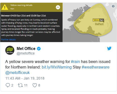 Twitter post by @metoffice: A yellow severe weather warning for #rain has been issued for Northern Ireland   Stay #weatheraware @metofficeuk