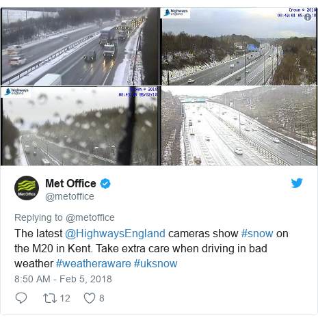 Twitter post by @metoffice: The latest @HighwaysEngland cameras show #snow on the M20 in Kent. Take extra care when driving in bad weather #weatheraware #uksnow