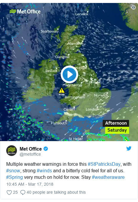 Twitter post by @metoffice: Multiple weather warnings in force this #StPatricksDay, with #snow, strong #winds and a bitterly cold feel for all of us. #Spring very much on hold for now. Stay #weatheraware