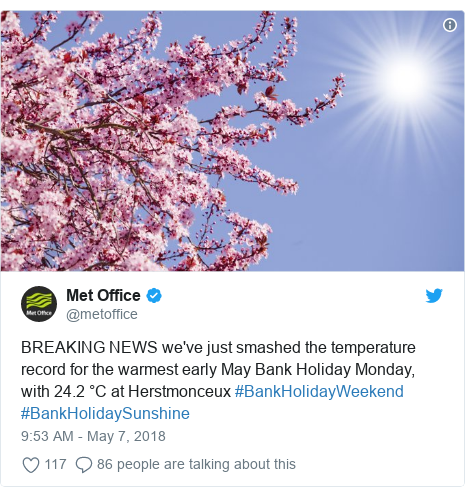 Twitter post by @metoffice: BREAKING NEWS we've just smashed the temperature record for the warmest early May Bank Holiday Monday, with 24.2 °C at Herstmonceux #BankHolidayWeekend #BankHolidaySunshine