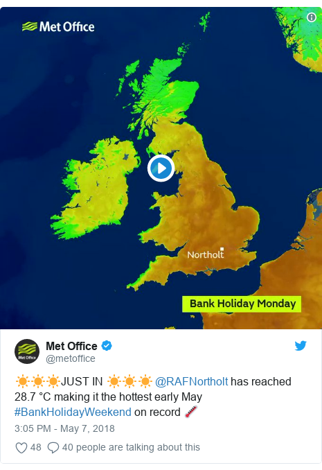 Twitter post by @metoffice: ☀️☀️☀️JUST IN ☀️☀️☀️ @RAFNortholt has reached 28.7 °C making it the hottest early May #BankHolidayWeekend on record 🌡️