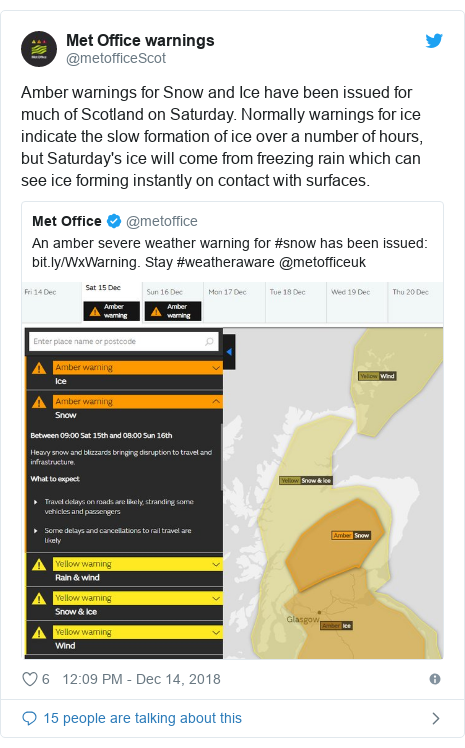 Twitter post by @metofficeScot: Amber warnings for Snow and Ice have been issued for much of Scotland on Saturday. Normally warnings for ice indicate the slow formation of ice over a number of hours, but Saturday's ice will come from freezing rain which can see ice forming instantly on contact with surfaces.